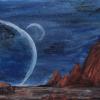 Этот рисунок фантастического космоса сделали вместе с мамой.